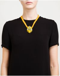 Shourouk - Yellow Ikat Braided Crystal And Enamel Necklace - Lyst