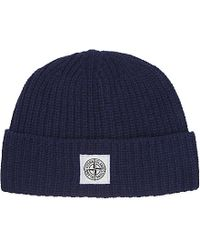 Stone Island | Blue Ribbed Wool Beanie - For Men for Men | Lyst