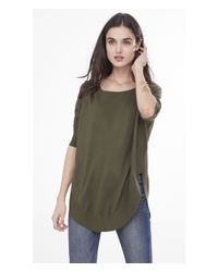 Express | Green Extreme Circle Hem Tunic Sweater | Lyst