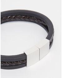 Seven London | Black Braided Metal Clasp Bracelet for Men | Lyst