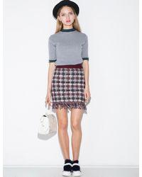 Pixie Market - Purple Burgundy And Ivory Knit Fringe Skirt - Lyst
