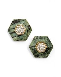 Rachel Zoe | Metallic 'ali' Stone & Crystal Hexagon Stud Earrings | Lyst