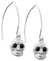 RACHEL Rachel Roy | Metallic Earrings, Silver-Tone Crystal Skull Drop Earrings | Lyst
