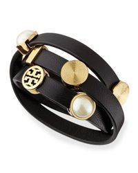 Tory Burch | Black Livia Leather Wrap Bracelet | Lyst
