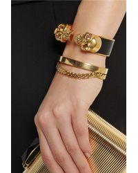 Alexander McQueen | Metallic Goldtone Swarovski Crystal and Leather Cuff | Lyst