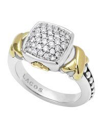 Lagos - Metallic Silver 18k Diamond Lux Pave Cushion Ring - Lyst