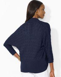 Ralph Lauren | Blue Lauren Petites Three Quarter Sleeve Cardigan | Lyst