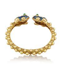 David Webb - Blue Baby Frog Enameled 18-Karat Gold Emerald Bangle - Lyst