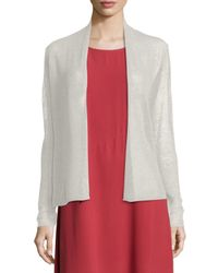 Eileen Fisher | Metallic Long-sleeve Mesh Cardigan | Lyst