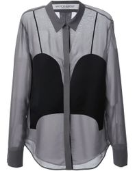 Viktor & Rolf - Gray Panelled Sheer Shirt - Lyst