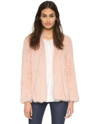 Nicholas - Pink Knitted Fur Jacket - Charcoal - Lyst
