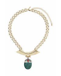 TOPSHOP - Green Semi-precious Drop Necklace - Lyst