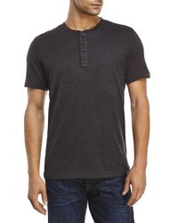 DKNY - Gray Melange Knit Henley for Men - Lyst