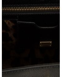 Dolce & Gabbana - Black Lizard Effect Shoulder Bag - Lyst