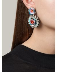 Shourouk | Blue Flower Clip-on Earrings | Lyst