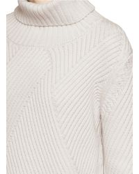 Rag & Bone | White 'blithe' Geometric Merino Wool Rib Knit Turtleneck Sweater | Lyst