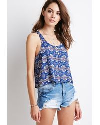 Forever 21 | Blue Print Buttoned Tank | Lyst