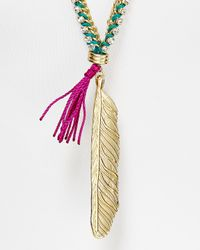 Sam Edelman | Metallic Metal Feather Pendant Necklace 30 | Lyst