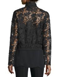 Elie Tahari | Black Suri Zip-Front Lace Jacket | Lyst