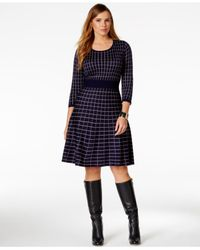 Spense | Black Plus Size Geo-patterned Sweater Dress | Lyst