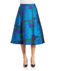 Adrianna Papell | Blue Floral Jaquard Skirt | Lyst