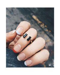 Bing Bang - Black Double Baguette Ring - Lyst