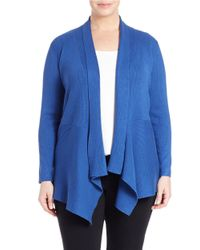 Lord & Taylor | Blue Plus Open-front Knit Cardigan | Lyst