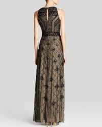 Adrianna Papell - Natural Gown - Sleeveless Beaded Cage Bodice - Lyst