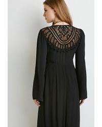 Forever 21 - Black Crochet-back Maxi Dress - Lyst
