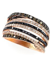 Effy | Metallic Black, Brown And White Diamond 14k Rose Gold Ring, 1.08 Tcw | Lyst