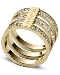 Michael Kors - Metallic Brilliance Gold Crystal Ring - Ring Size O - M/l - Lyst