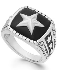 Macy's | Black Men's Onyx Star Ring In Sterling Silver (7 Ct. T.w.) for Men | Lyst