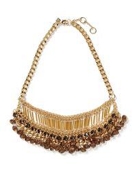 Banana Republic - Metallic Stine Fringe Necklace Gold - Lyst