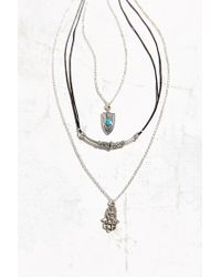 Urban Outfitters - Black Shield + Hamsa Layering Necklace Set - Lyst