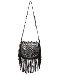 Shashi | Black Simone Saddle Bag - Beige | Lyst