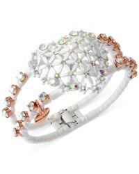 Betsey Johnson | Pink Rose Gold-Tone Heart Hinged Bangle Bracelet | Lyst