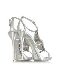 Giuseppe Zanotti | Silver Metallic Leather And Crystal Sandal | Lyst