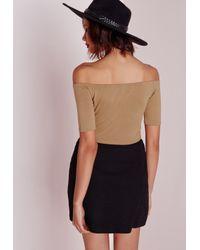 Missguided - Natural Bardot Jersey Crop Top Camel - Lyst