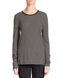 Vince - Gray Feeder Striped Cotton Jersey Top - Lyst