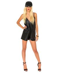 Missguided - Black Gaenor Faux Leather Drawstring Playsuit - Lyst