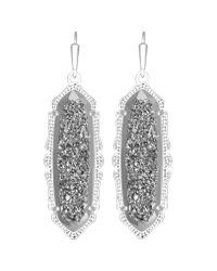 Kendra Scott | Metallic Fran Earring, Platinum Drusy | Lyst