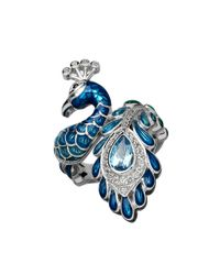 Lord & Taylor | Blue And White Topaz Sterling Silver Peacock Ring | Lyst