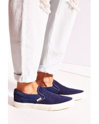 Vans - Blue Classic Knit Suede Slip-on Women's Sneaker - Lyst