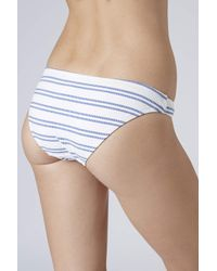 TOPSHOP - White Textured Stripe Bikini Pants - Lyst