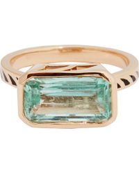 Dezso by Sara Beltran - Metallic Emerald, Jali Black Enamel & Rose Gold Ring - Lyst
