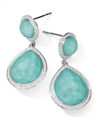 Ippolita | Blue Stella 2-stone Drop Earrings In Turquoise Doublet With Diamonds | Lyst