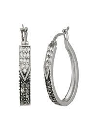 Lord & Taylor | Metallic Sterling Silver And Marcasite Hoop Earrings | Lyst