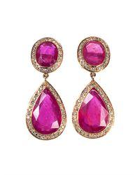 Jade Jagger | Purple Diamond, Ruby & Yellow-Gold Earrings | Lyst