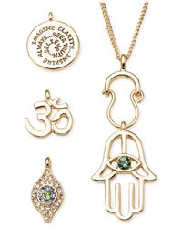 RACHEL Rachel Roy | Metallic Gold-Tone Interchangeable Hamsa Charm Pendant Necklace Set | Lyst