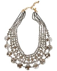 Kenneth Jay Lane | Black Grey Multi-strand Crystal Necklace | Lyst